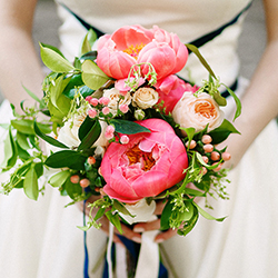 Bridal bouquet with peonies and garden roses